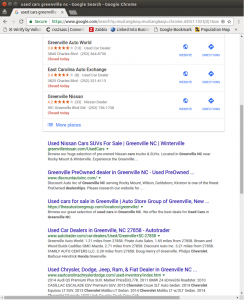 "Google search results for the phrase ""used cars greenville nc"""
